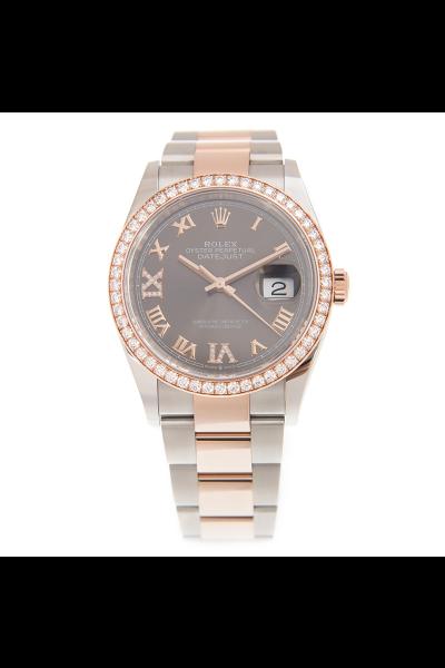 Rolex Unisex Datejust 36mm Luxury Slate Dial Roman Markers Rose Gold & Oyster Steel Diamonds Watch 126281RBR Replica