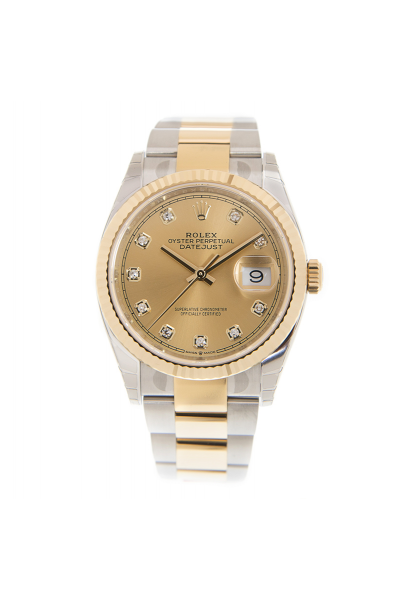 Classic Rolex Datejust Yellow Gold Dial Diamonds Markers Unisex 36MM Fluted Bezel Two-tone Oyster Watch 116233
