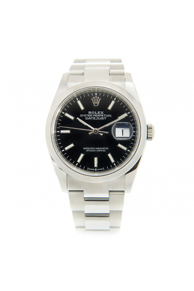 2021 New Rolex Datejust Stainless Steel Oyster Bracelet Black Dial Unisex Baton Markers Automatic Watch 36MM 126200