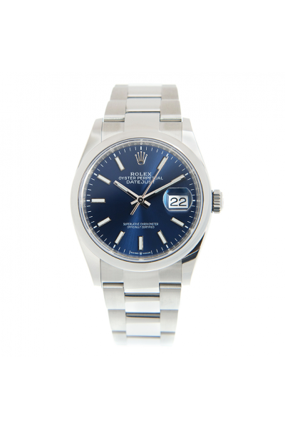 Replica Rolex Datejust 36 Bright Blue Face Oyster Bracelet Unisex Domed Bezel Automatic White Gold Watch 126200