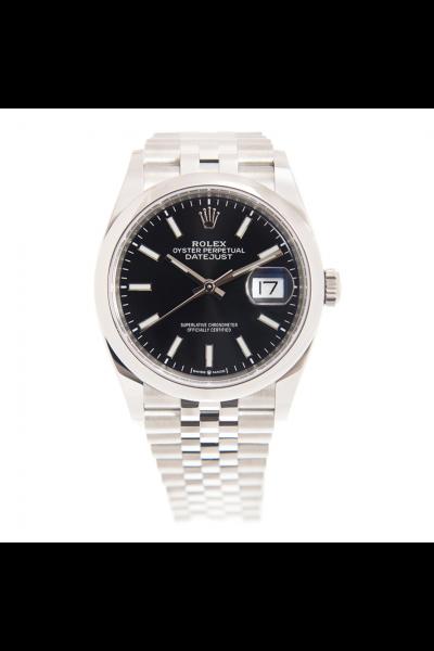 Good Quality Rolex Daejsut Unisex 36MM Bright Black Dial Baton Markers Stainless Steel Jubilee Watch 126200