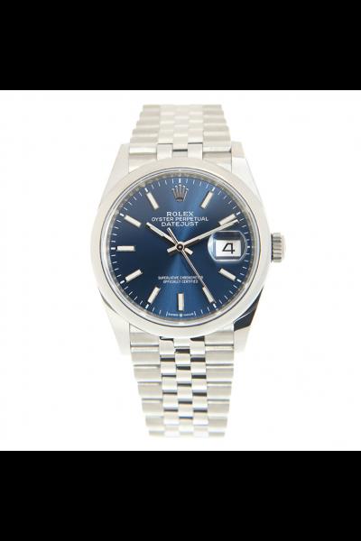 Fashion Rolex Datejust 36MM Stainless Steel Jubilee Bracelet Bright Blue Dial Unisex Stick Markers Luminous Watch 126200
