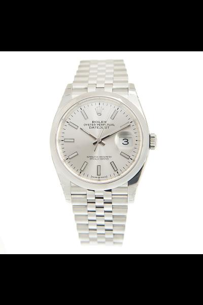 Simple Rolex Datejust 36 Domed Bezel Jubilee Bracelet Luminous Baton Markers Unisex White Gold Fake Automatic Watch 126200