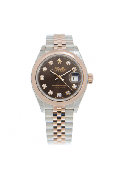 Low Price Rolex Datejust Chocolate Face Diamonds Index Rose Gold Domed Bezel Women Two-tone Jubilee 28MM Automatic Watch 279161