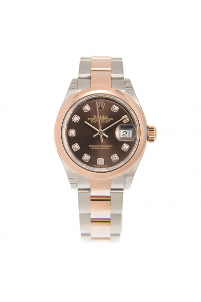 Replica Best Rolex Datejust 28 Chocolate Dial Diamonds Markers Female Automatic Rose Gold & Steel Oyster Watch 279161