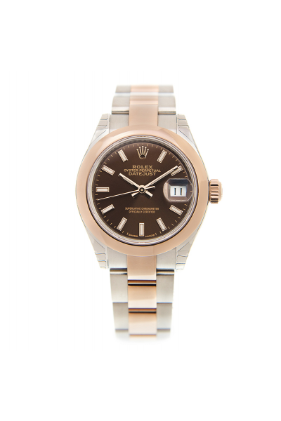 Best Price Rolex Datejust 28 Chocolate Motif Dial Rose Gold Domed Bezel Ladies Two-tone Oyster Bracelet Luminous Stick Watch 279161