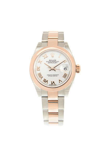 High End Rolex Datejust 28MM Case Rose Gold Domed Bezel Roman Index White Face Women Two-tone Oyster Automatic Fake Watch 279161