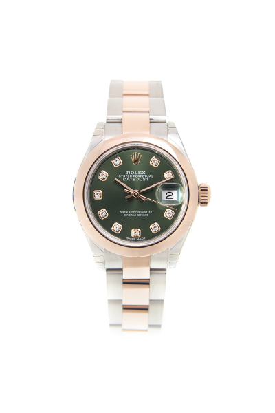 Cheapest Rolex Datejust Female Rose Gold & Steel Olive Green Dial Domed Bezel Oyster Bracelet Diamonds Markers Watch 28MM 279161