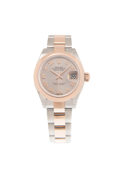 2021 New Rolex Datejust 28mm Rose Color Dial Domed Bezel Female Two-tone Oyster Bracelet Roman Index Automatic Watch Replica 279161