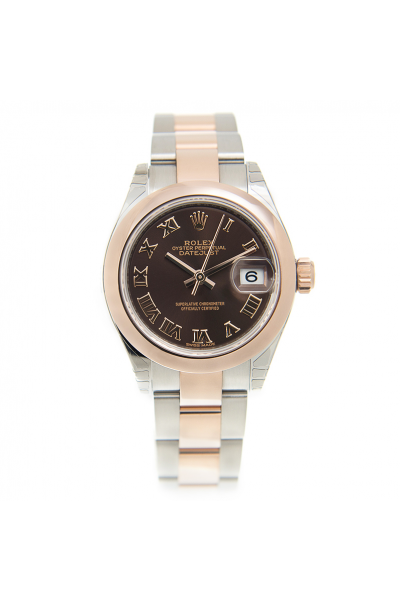 Rolex New Datejust 28 Brown Dial Roman Markers Women Domed Bezel Two-tone Oyster Bracelet Automatic Watch Rose Gold 279161