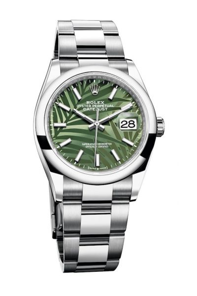 2021 New Rolex Datejust 36MM Oyster Bracelet Palm Motif Olive Green Dial Women Stainless Steel Date Watch 126200